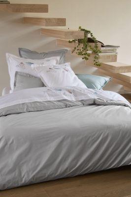 taie d 39 oreiller petite brise percale blanc broderies plumes 50x80 linge de maison. Black Bedroom Furniture Sets. Home Design Ideas