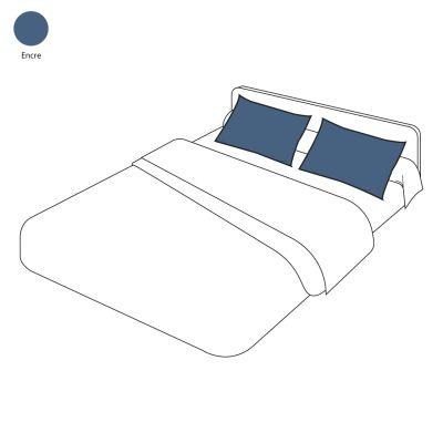 taie d 39 oreiller lin lav uni encre 50x80 linge de maison. Black Bedroom Furniture Sets. Home Design Ideas
