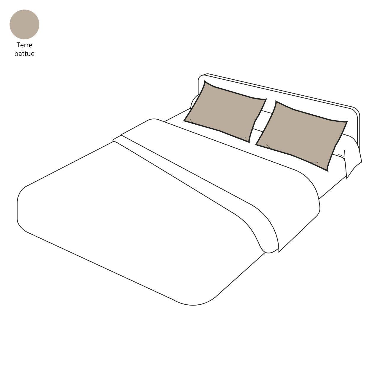 taie d 39 oreiller uni terre battue percale 40x40 sylvie thiriez. Black Bedroom Furniture Sets. Home Design Ideas