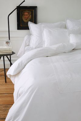 taie de traversin brod e anecdotes blanc percale 43x185 linge de maison. Black Bedroom Furniture Sets. Home Design Ideas