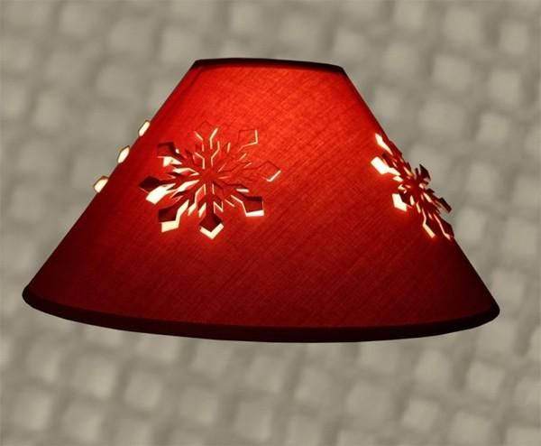 abat jour conique polyphane poser rouge flocons. Black Bedroom Furniture Sets. Home Design Ideas
