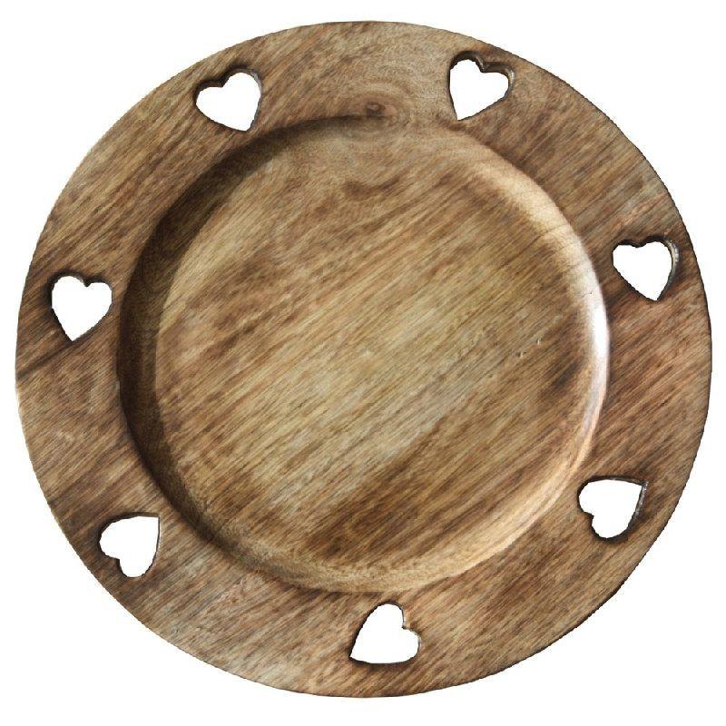 assiette de pr sentation ronde bois 7 coeurs art de la table. Black Bedroom Furniture Sets. Home Design Ideas