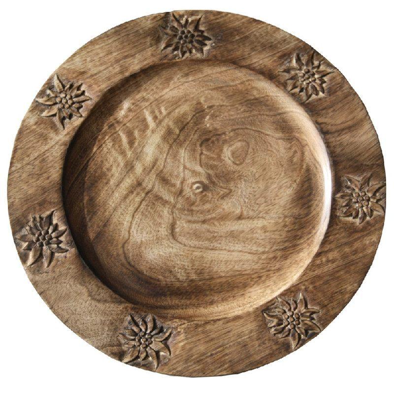 assiette de pr sentation ronde bois edelweiss les. Black Bedroom Furniture Sets. Home Design Ideas