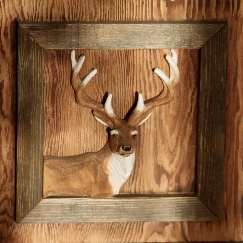 Cadre bois sculpté peint Portrait de cerf Les Sculpteurs du lac # Cadre Bois Sculpté