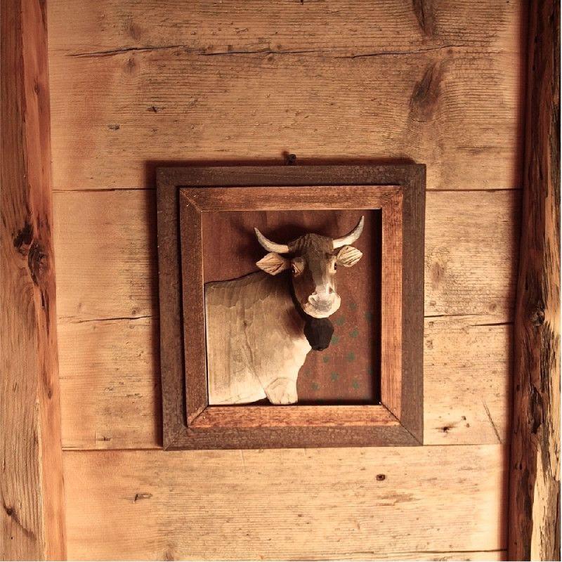 Cadre Bois Sculpt 233 Peint Portrait De Vache 30 215 29 215 10