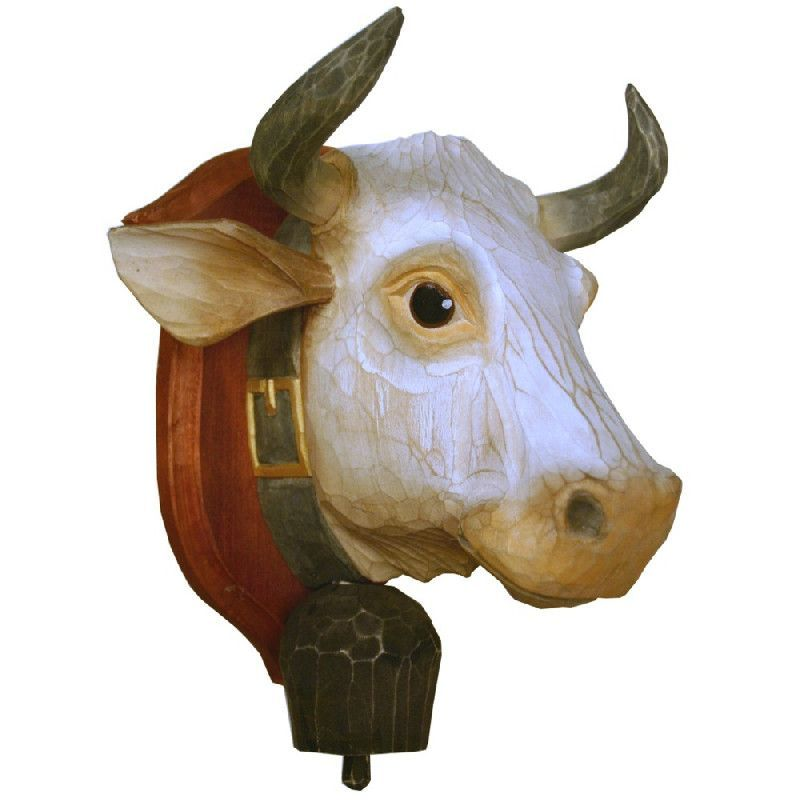D coration murale bois peint t te de vache cusson for Decoration murale en bois