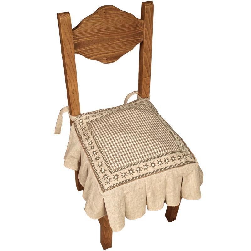 galette de chaise coton cru motif vichy et edelweiss. Black Bedroom Furniture Sets. Home Design Ideas