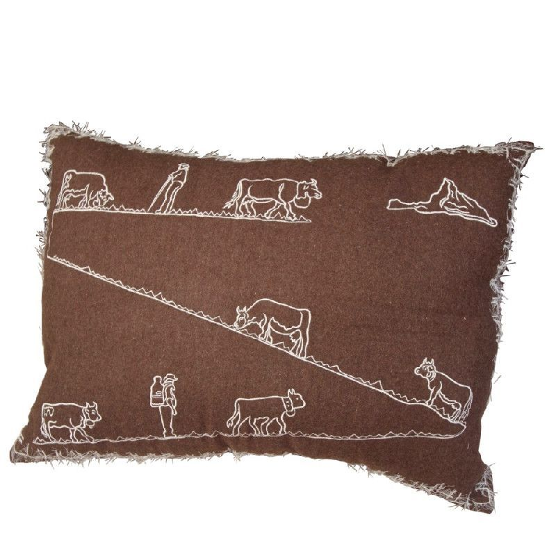 housse de coussin laine bouillie chocolat motif poya 70x50 d coration. Black Bedroom Furniture Sets. Home Design Ideas