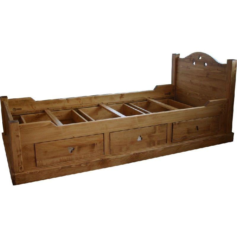 lit 1 place pic a coeur 3 tiroirs 90x200 les sculpteurs. Black Bedroom Furniture Sets. Home Design Ideas