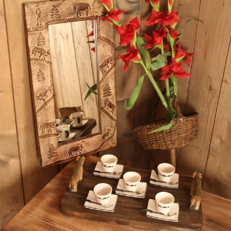 miroir suspendre bois brul poya 67x38 d coration. Black Bedroom Furniture Sets. Home Design Ideas