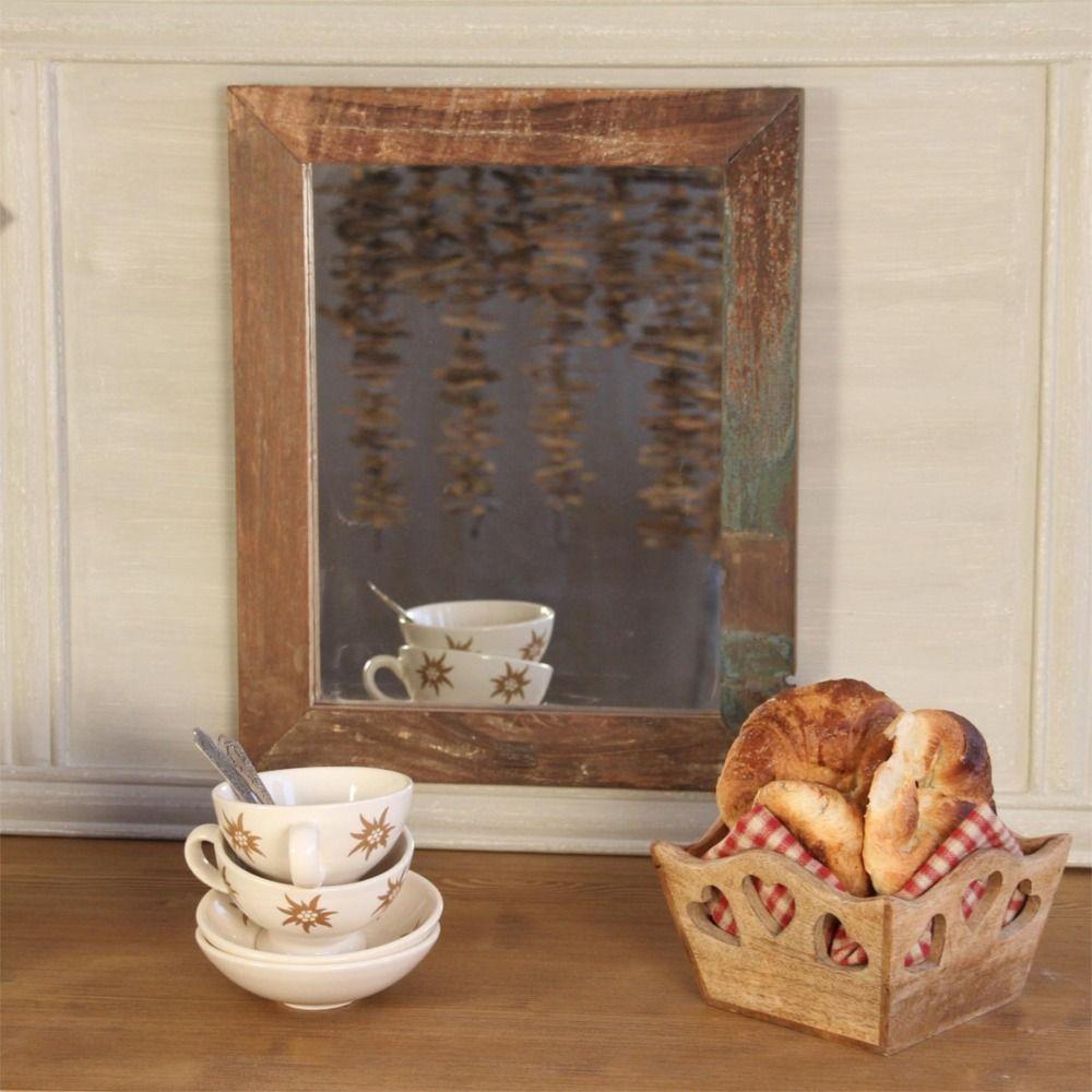 miroir suspendre bois recycl aspect vieilli 48x39 les. Black Bedroom Furniture Sets. Home Design Ideas