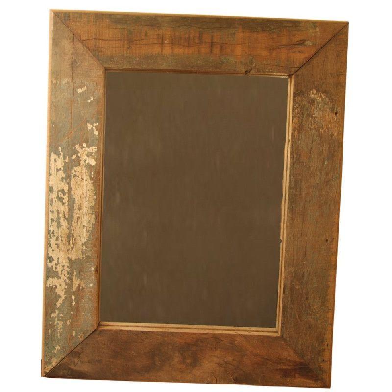 miroir suspendre bois recycl aspect vieilli 60x49 d coration. Black Bedroom Furniture Sets. Home Design Ideas