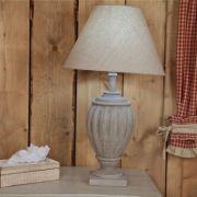 Pied de lampe sculpté bois grisé Ø21