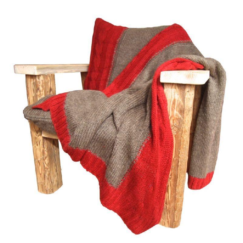 Plaid laine bicolore rouge et gris les sculpteurs du lac for Jardin gris et rouge