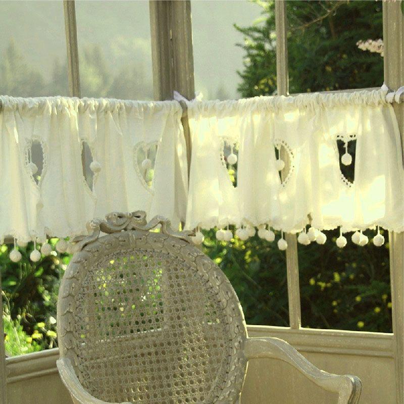rideau brise bise cru coeur pompons 135 les sculpteurs du lac. Black Bedroom Furniture Sets. Home Design Ideas