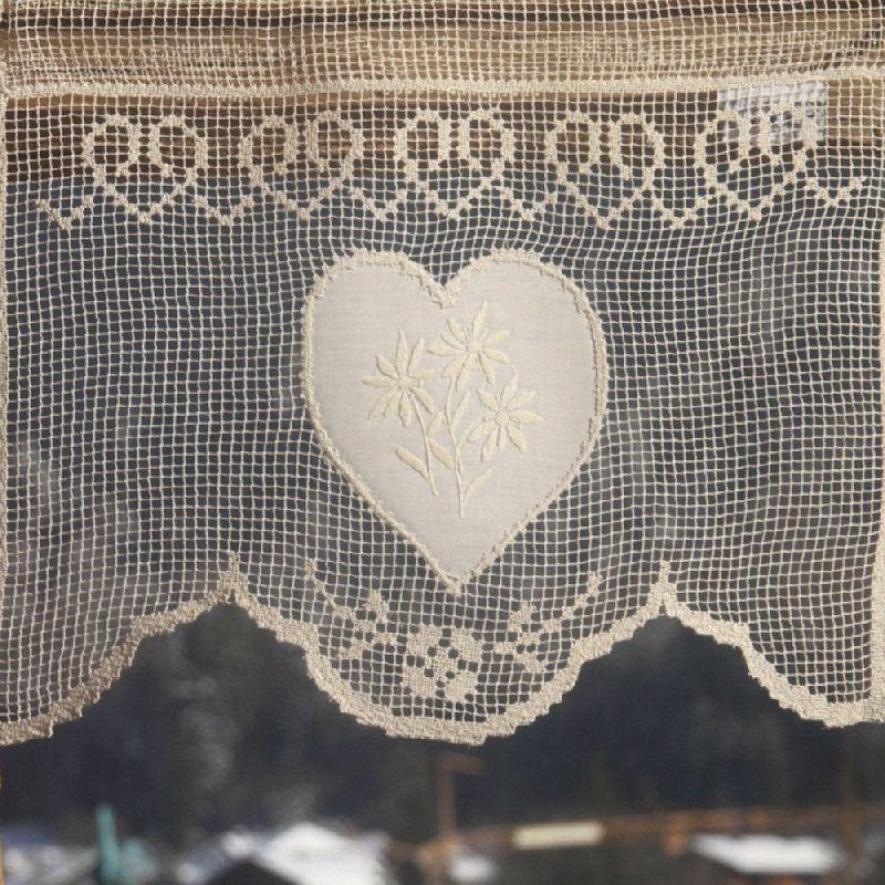 Rideau brise bise 1 coeur et fleurs de montagne coton écru ...