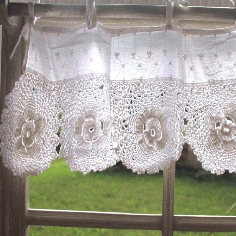 Rideau cantonière crochet blanc 45cm - Décoration | decotaime.fr