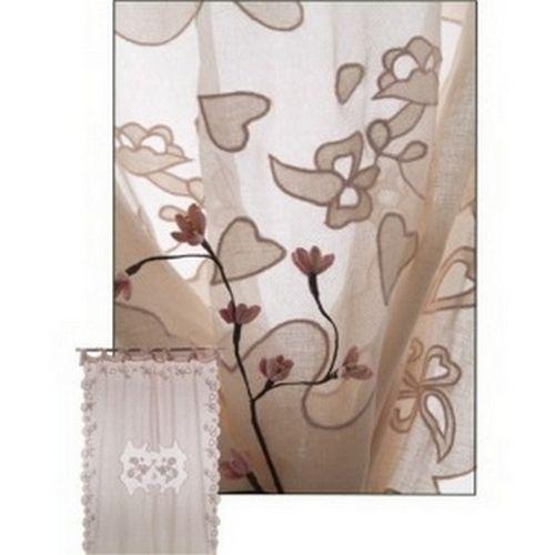 rideau voile de lin dentelle de fleurs et coeurs d coration. Black Bedroom Furniture Sets. Home Design Ideas