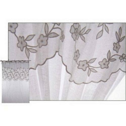 rideau voile de lin dentelle petites fleurs d coration. Black Bedroom Furniture Sets. Home Design Ideas