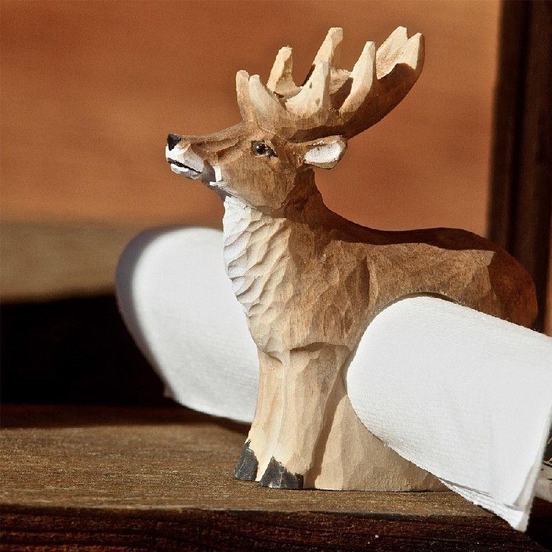 rond de serviette bois sculpt cerf peint les sculpteurs. Black Bedroom Furniture Sets. Home Design Ideas