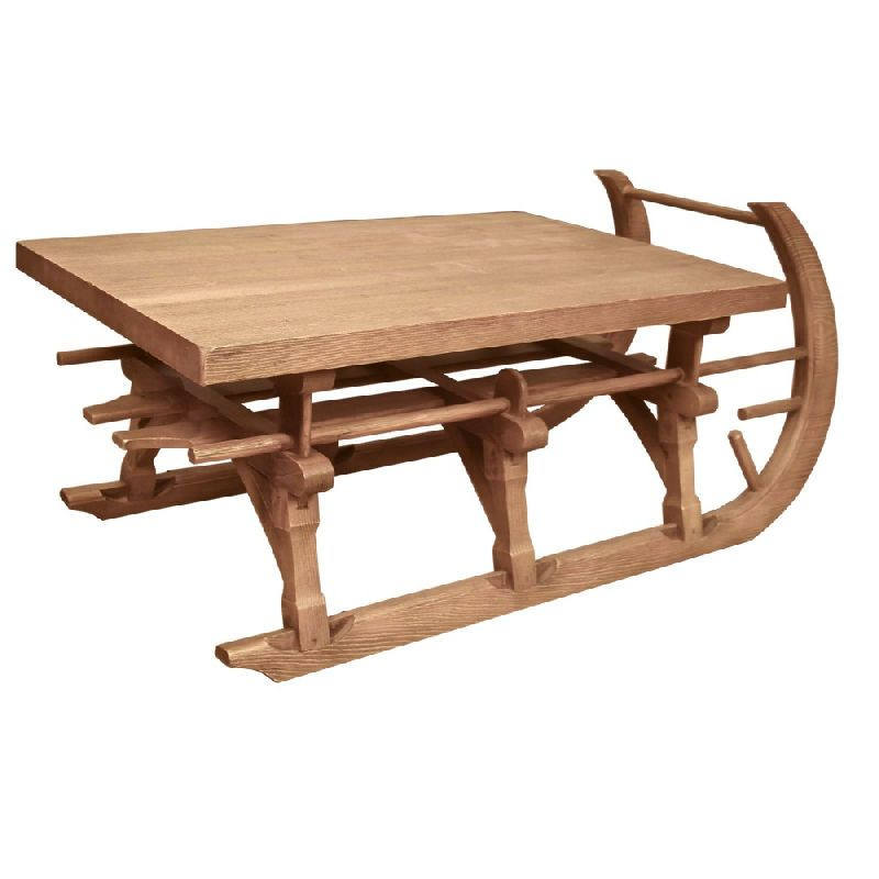 Luge en bois table basse for Table basse bois vieilli