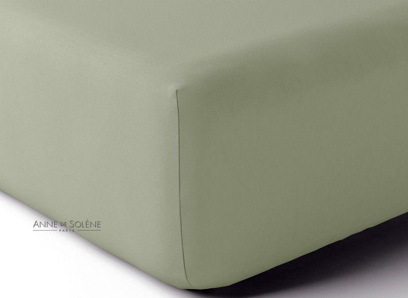 drap housse percale vexin uni sauge 80x190. Black Bedroom Furniture Sets. Home Design Ideas