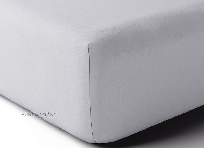 drap housse percale vexin uni tourterelle 80x190. Black Bedroom Furniture Sets. Home Design Ideas