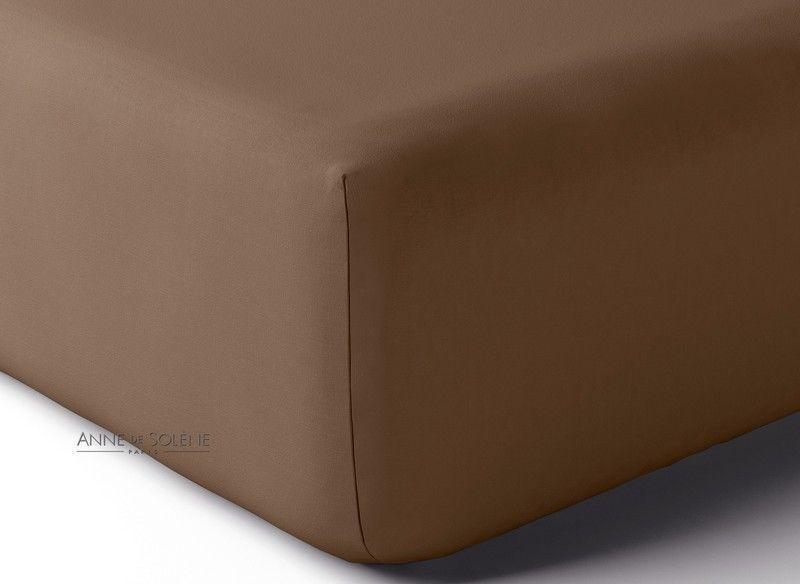 drap housse percale vexin uni vison 140x200. Black Bedroom Furniture Sets. Home Design Ideas