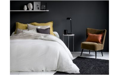 housse couette unie lin lav lina blanc 240x220 linge de maison. Black Bedroom Furniture Sets. Home Design Ideas