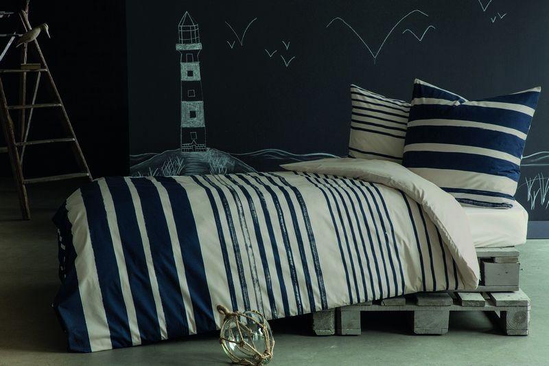 Housse de couette inspiration ouessant bleu marine 140x200 for Housse de couette 200x200 bleu