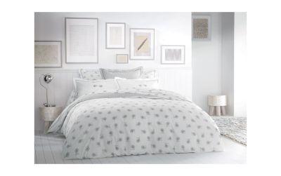 taie d 39 oreiller brod e percale plume gris 50x75 linge de maison. Black Bedroom Furniture Sets. Home Design Ideas