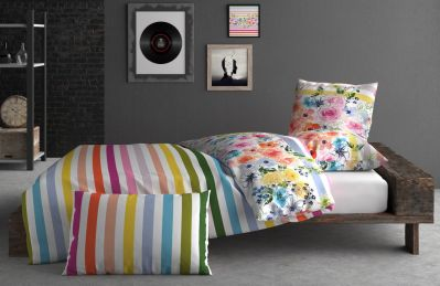 taie d 39 oreiller coton rainbow multicolore 50x75. Black Bedroom Furniture Sets. Home Design Ideas
