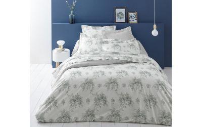 taie d 39 oreiller imprim e evanescence gris percale 50x75 linge de maison. Black Bedroom Furniture Sets. Home Design Ideas