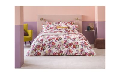 taie d 39 oreiller imprim e flore fushia percale 50x75 linge de maison. Black Bedroom Furniture Sets. Home Design Ideas