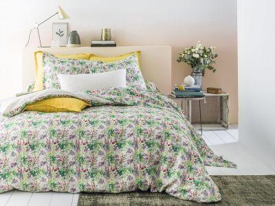 taie d 39 oreiller imprim e lin lav champ tre 50x75 linge de maison. Black Bedroom Furniture Sets. Home Design Ideas