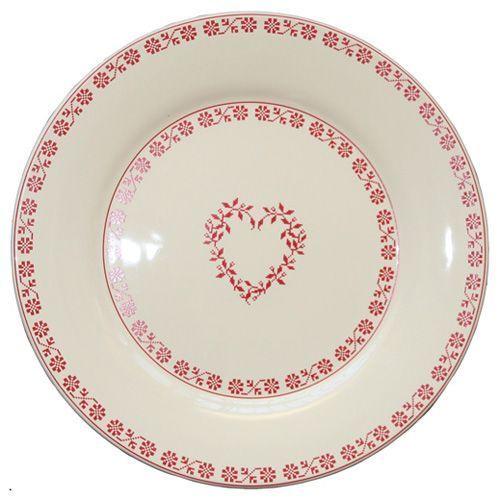 Assiette dessert ronde fa ence tendre rouge fa encerie for Decoration a l assiette
