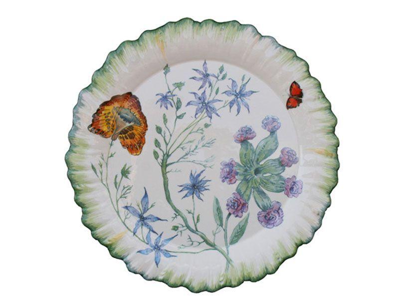 assiette plate ronde fa ence folies botaniques fa encerie de niderviller. Black Bedroom Furniture Sets. Home Design Ideas