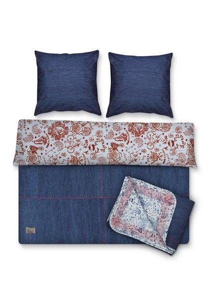 housse de couette percale jeans 140x200. Black Bedroom Furniture Sets. Home Design Ideas