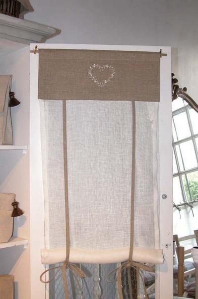 Store lin et voile de lin coeur 40x100 - 1 - Décoration | decotaime.fr