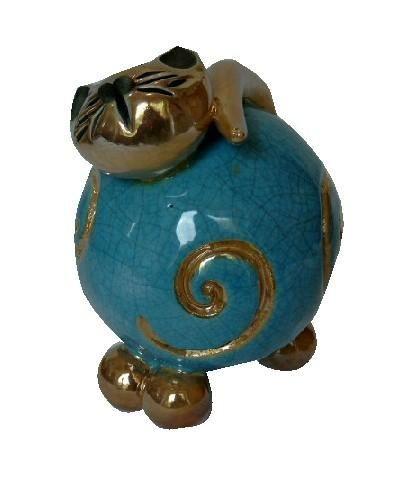Bibelot c ramique chat bleu demi spirale for Bibelot de decoration