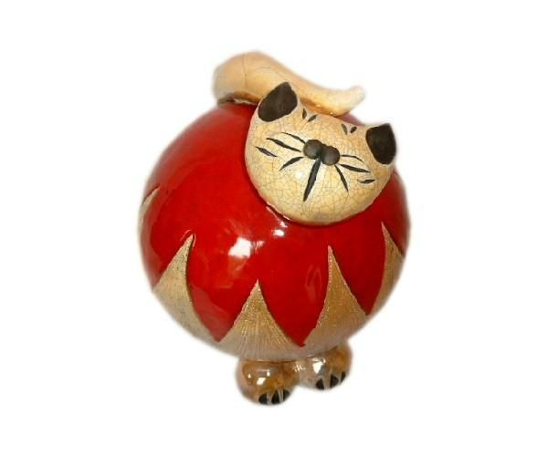 bibelot c ramique chat rouge flamme