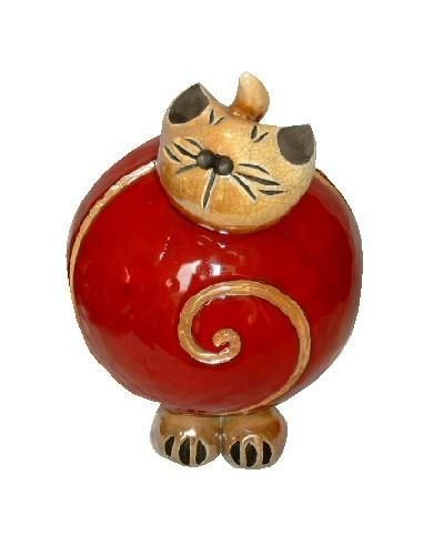 bibelot c ramique chat rouge spirale gm