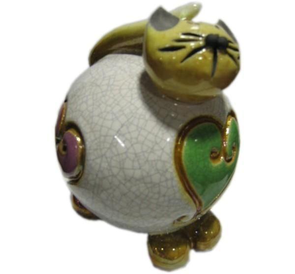 Bibelot c ramique chat blanc coeur for Bibelot de decoration