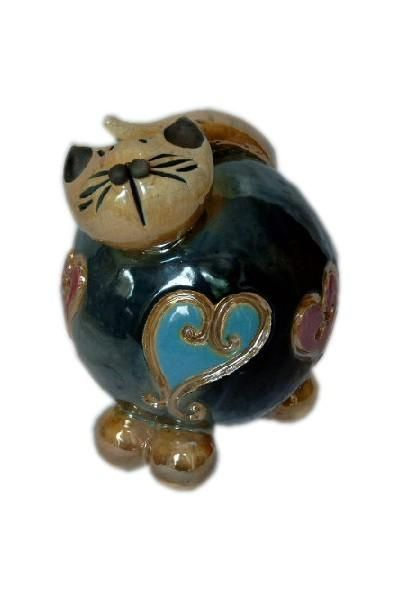 Bibelot c ramique chat noir coeur for Bibelot de decoration