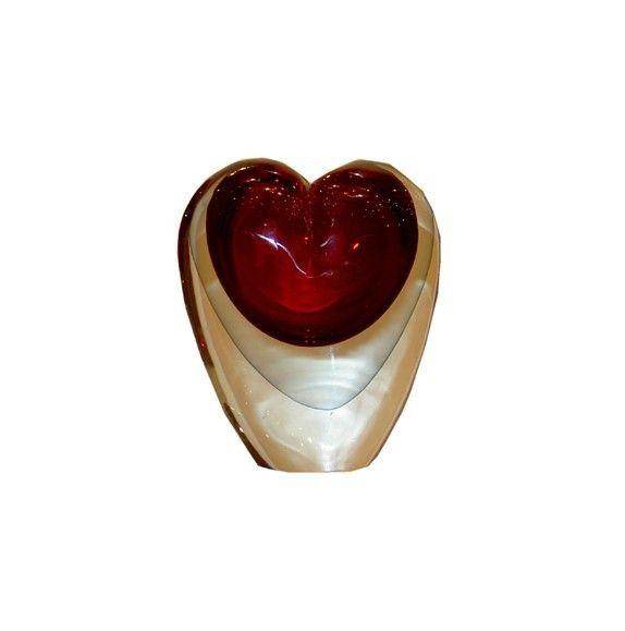 Vase verre murano coeur rouge et gris pm d coration - Decoration coeur rouge ...