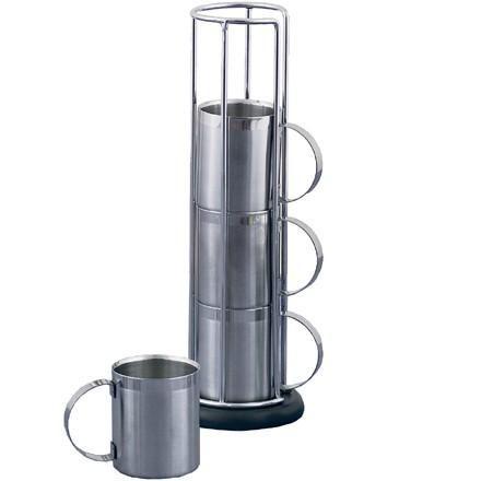 tasses caf inox avec support set de 4. Black Bedroom Furniture Sets. Home Design Ideas