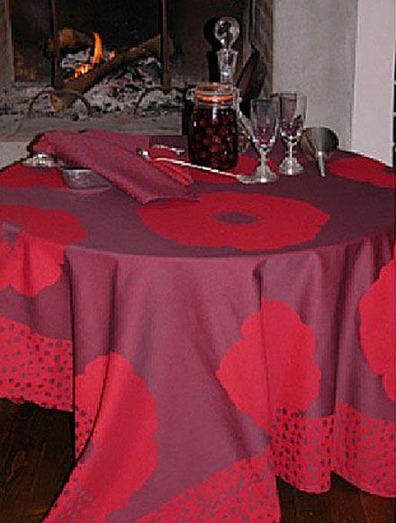 nappe an mone aubergine rouge 170x170 linge de maison. Black Bedroom Furniture Sets. Home Design Ideas