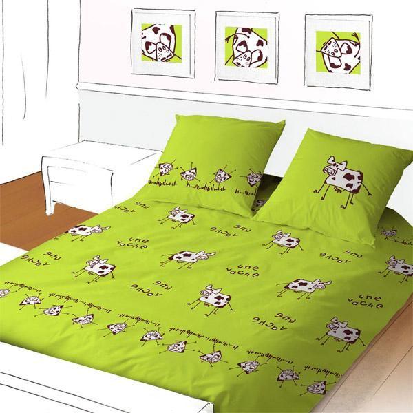 housse de couette meuh verte 260x240 linge de maison. Black Bedroom Furniture Sets. Home Design Ideas