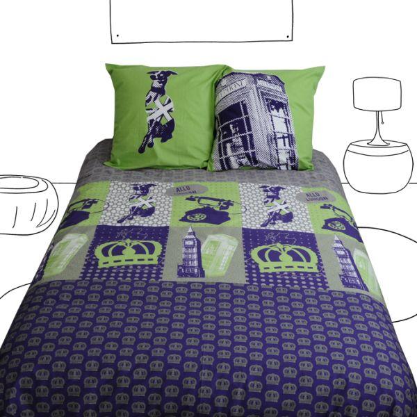 parure de lit dog save the queen 2 taies 260x240 linge de maison. Black Bedroom Furniture Sets. Home Design Ideas