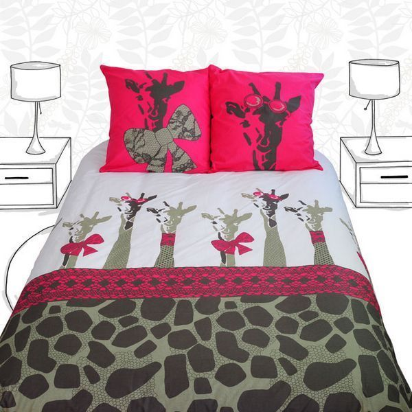 parure de lit safari girls 200x200 linge de maison. Black Bedroom Furniture Sets. Home Design Ideas